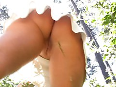 wife no undies upskirt in park