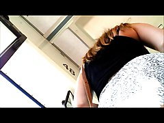 Upskirt teenager getting on bus