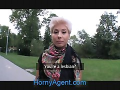 HornyAgent Blonde lesbian takes cock for money