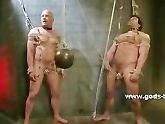 White guy fucked by two black guys in hard bondage sex in various