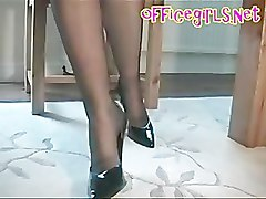 Under Desk Upskirt View Of Secretary In Black Fully Fashioned Sto