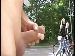 flashing to teens on bikes