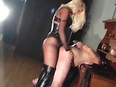 blonde in boots pounds slave