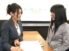 Office lady seduced by lesbian during interview