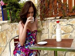 Slutty Brunette With Bottle Of Milk