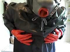 latex gasmask sucking ...