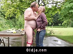 blonde teenager fucks fat ugly old geezer