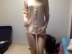 skinny teen in shirt and panty teases