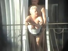 sex and balcony (voyeur get caught)