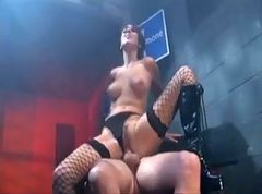 Brunette fucking in fishnet stockings