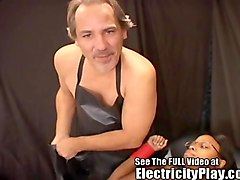 hot black chick tied up and electrified