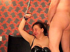ugly arab russian slut chained up, face fucked cim bdsm