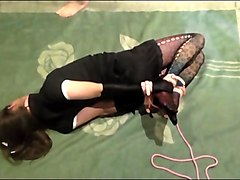 kitsy hogtied and facefucked. crossdresser blowjob.