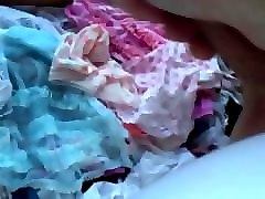 tranny cums into drawer full of panties
