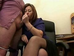 Hot Mature Secretary Jerks The Jizz From Bosses Cock !