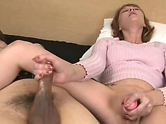 lustful girl masturbating with sextoy while jerking me off