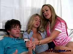 stepmother  and stepdaughter in hot scene with licking and frenching