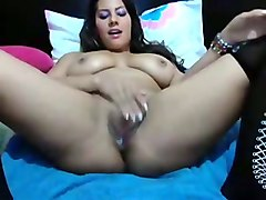 kinky big boobed webcam brunette in high boots enjoyed her wild masturbation