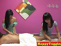 asian massage babes sharing clients cock