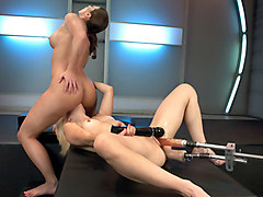 Exotic squirting, fetish xxx video with amazing pornstars Ariel X and Holly Hanna from Fuckingmachines