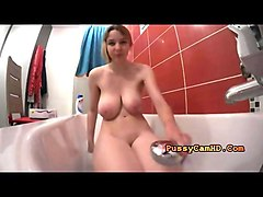 nerdy french teen with big tits toys pussy in bathtub