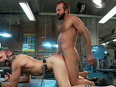 Motor oil bondage fuck in the metal shop