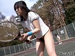 tennis playing asian teen getting nailed by her instructor