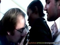 horny white pervs seduce a beautiful african waitress in
