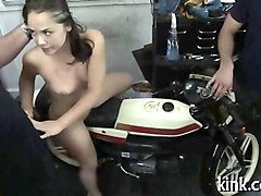 trimmed pussy babe gets dominated by a bunch of bikers