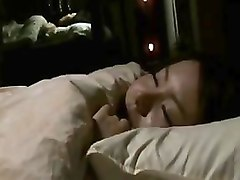 asian wife showers and goes to bed but her horny husband wa
