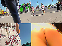 Hot skinny ass upskirt video of a blonde in public