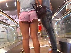 Tiniest Shorts on Tight Cheeky college girl HD