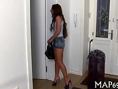amateur brunette honey in high heels sucks a dick during this casting