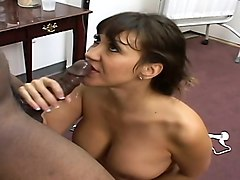 stacked oriental nurse in white stockings gets pounded by a black stud
