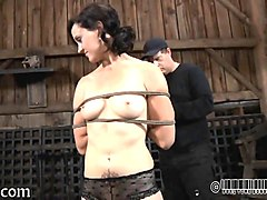 glamorous babe's sweet nipples receives painful torturing