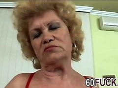Naughty granny is like a pro with cock