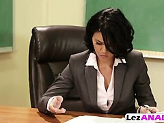 detention french chick playing dildo with brunette lesbian