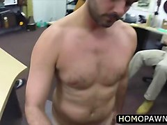 tight ass hairy dude arrives in the pawnshop and gets holes in his virgin gay ass