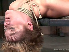 busty hot milf lady on the table bound and gagged nude