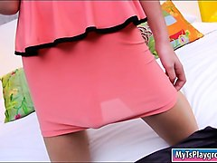 thai tgirl nat shows off big ass and masturbates her cock