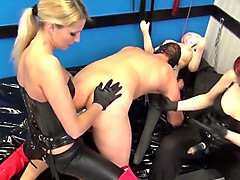 3 dommes 2 slaves a rubberdoll