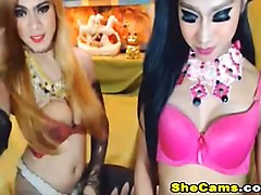 Hot Shemale Fucks her Shemale Friend on Cam