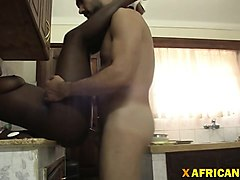 african ebony babe big tits fucking interracial in kitchen
