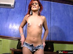 naughty tranny shows shaved asshole in closeup and jacks off