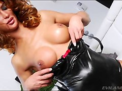 busty tranny in latex outfit anal banged
