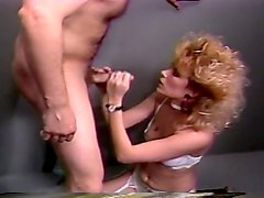 lean blondie with white lingerie getting pounded in doggy style position