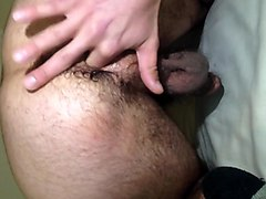 Bottom boy plays with hairy ass