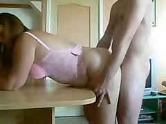 chubby french mom in pink lingerie giving deepthroat blowjob