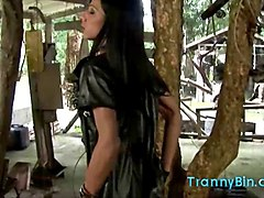 hot tranny teases in leather outfir