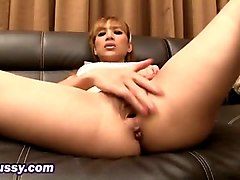 incredible asian postop ladyboy solo playing her pussy before sliding onto a dildo